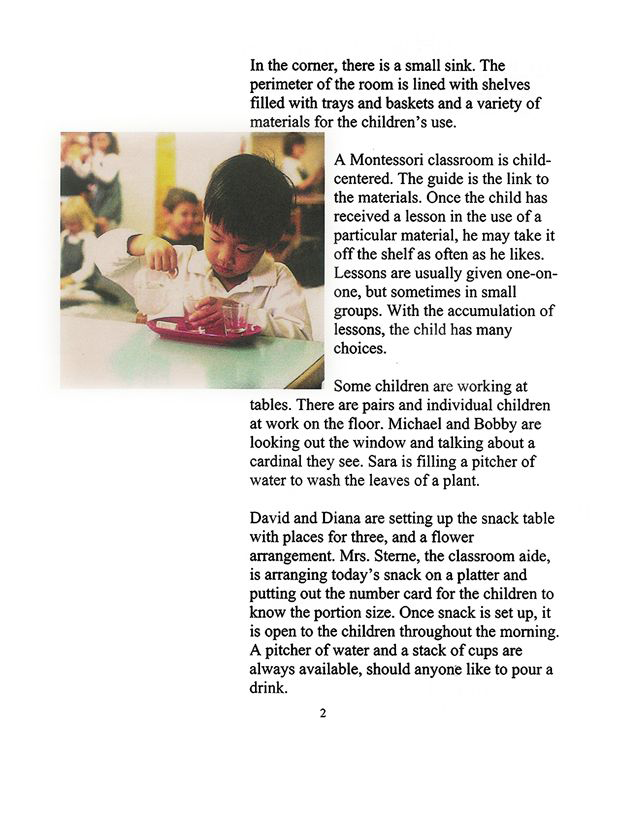Excerpt — Montessori School: A Typical Day Prepared by Kathleen H. Futrell